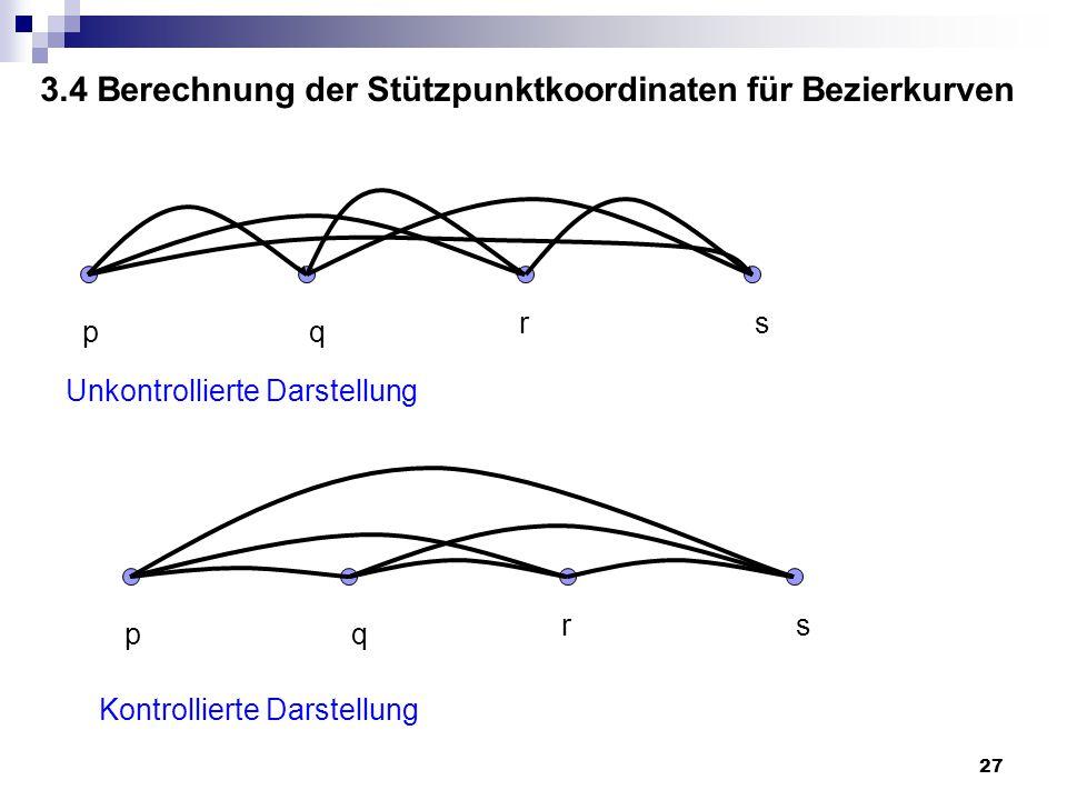27 pq rs Kontrollierte Darstellung pq rs Unkontrollierte Darstellung 3.4 Berechnung der Stützpunktkoordinaten für Bezierkurven