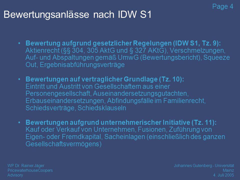 Part Unternehmensbewertung nach IDW S1 1