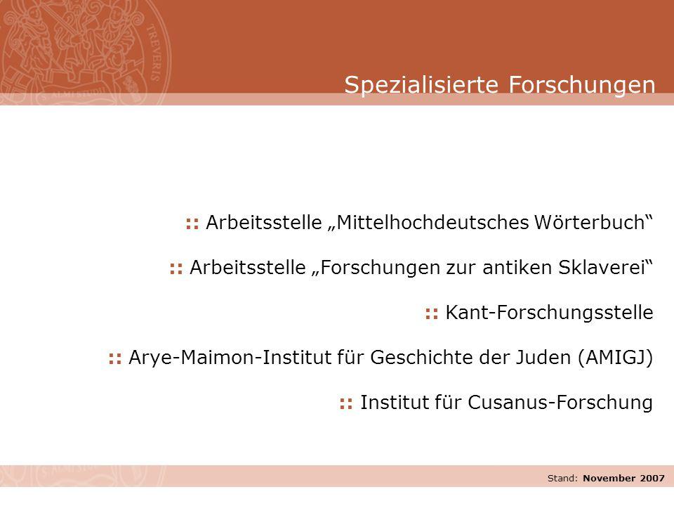 """Stand: November 2007 :: Arbeitsstelle """"Mittelhochdeutsches Wörterbuch"""" :: Arbeitsstelle """"Forschungen zur antiken Sklaverei"""" :: Kant-Forschungsstelle :"""