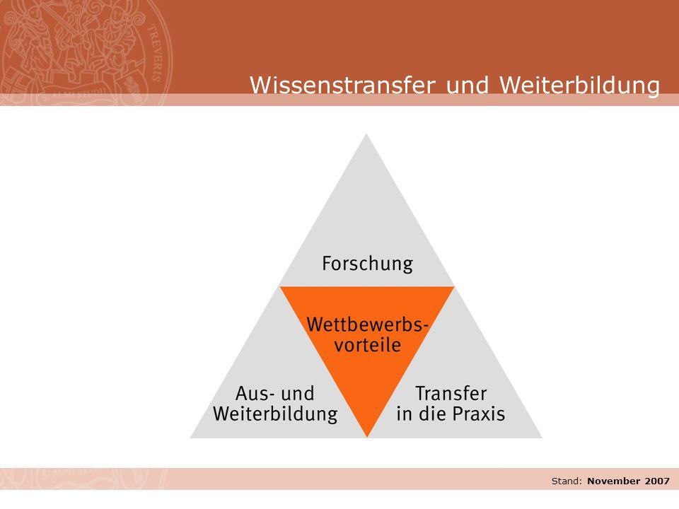 Stand: November 2007 Wissenstransfer und Weiterbildung