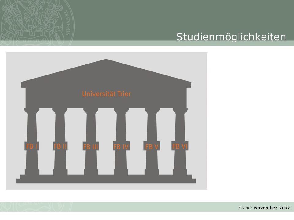 Stand: November 2007 Studienmöglichkeiten