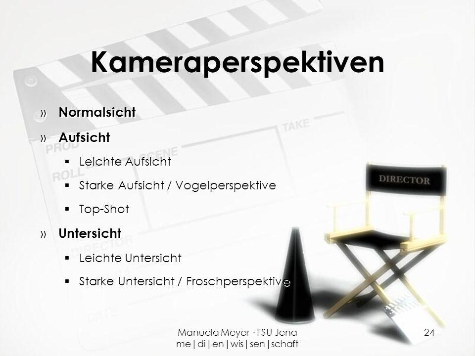 Manuela Meyer · FSU Jena me|di|en|wis|sen|schaft 24 Kameraperspektiven » Normalsicht » Aufsicht  Leichte Aufsicht  Starke Aufsicht / Vogelperspektiv