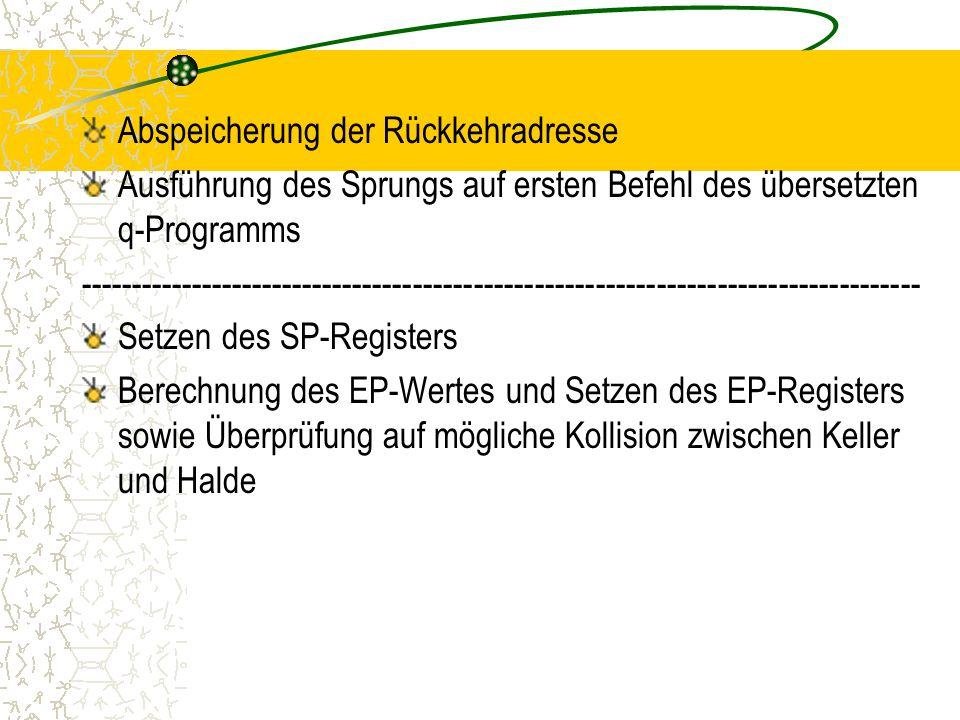 Abspeicherung der Rückkehradresse Ausführung des Sprungs auf ersten Befehl des übersetzten q-Programms ----------------------------------------------------------------------------------- Setzen des SP-Registers Berechnung des EP-Wertes und Setzen des EP-Registers sowie Überprüfung auf mögliche Kollision zwischen Keller und Halde
