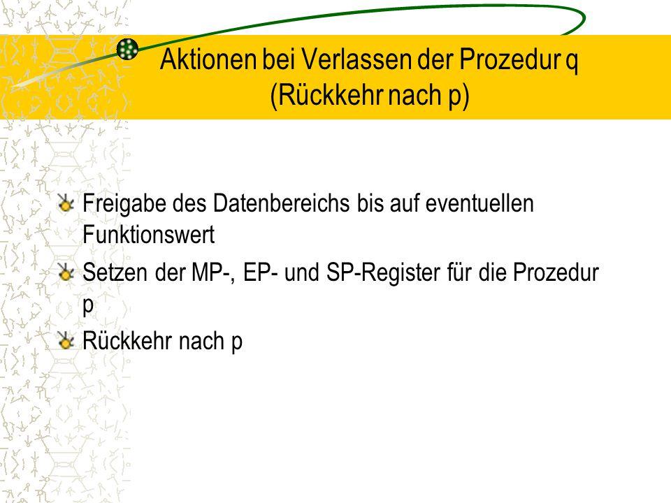 Aktionen bei Verlassen der Prozedur q (Rückkehr nach p) Freigabe des Datenbereichs bis auf eventuellen Funktionswert Setzen der MP-, EP- und SP-Register für die Prozedur p Rückkehr nach p