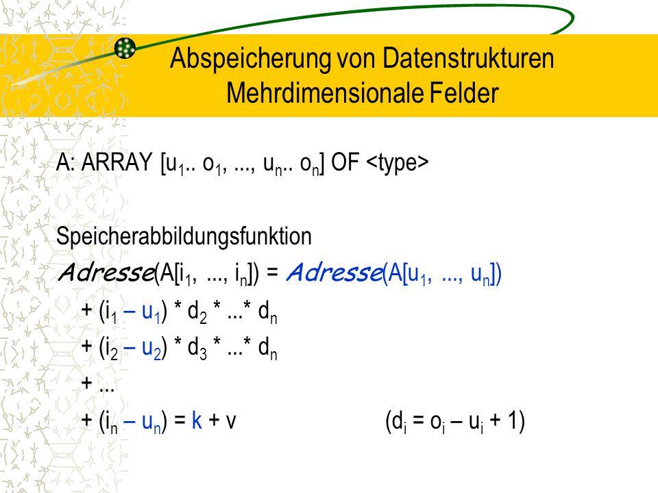 Abspeicherung von Datenstrukturen Mehrdimensionale Felder A: ARRAY [u 1..