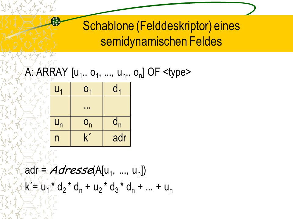 Schablone (Felddeskriptor) eines semidynamischen Feldes A: ARRAY [u 1..