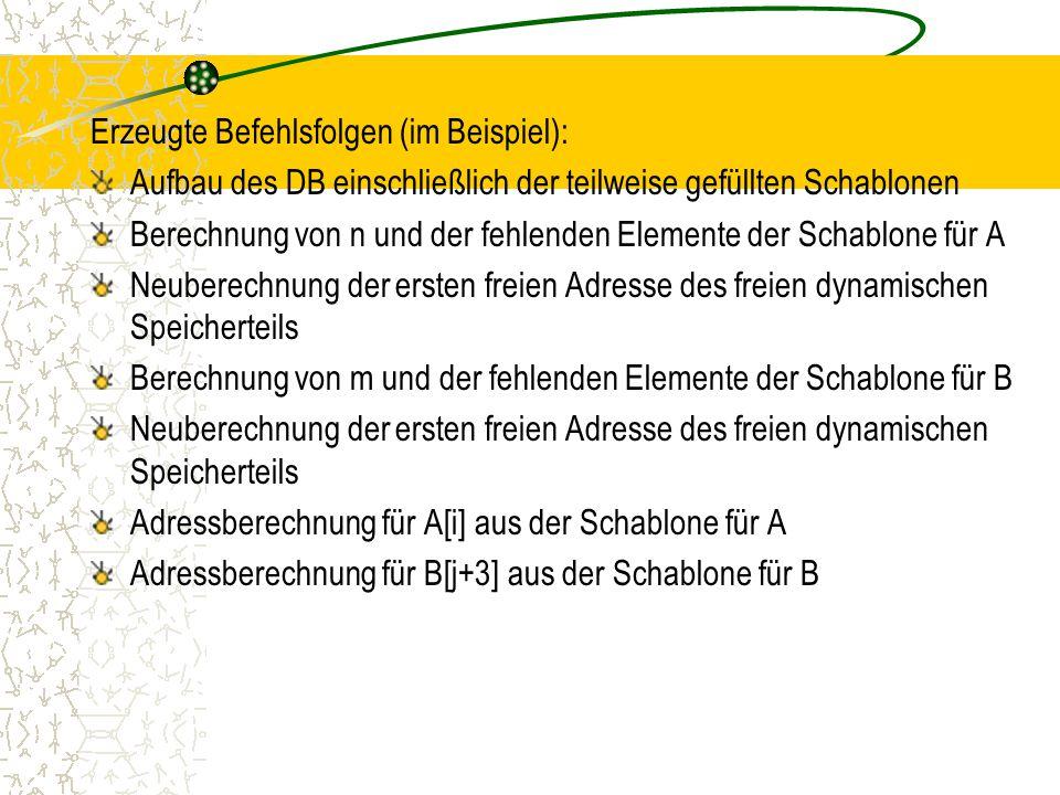 Erzeugte Befehlsfolgen (im Beispiel): Aufbau des DB einschließlich der teilweise gefüllten Schablonen Berechnung von n und der fehlenden Elemente der Schablone für A Neuberechnung der ersten freien Adresse des freien dynamischen Speicherteils Berechnung von m und der fehlenden Elemente der Schablone für B Neuberechnung der ersten freien Adresse des freien dynamischen Speicherteils Adressberechnung für A[i] aus der Schablone für A Adressberechnung für B[j+3] aus der Schablone für B