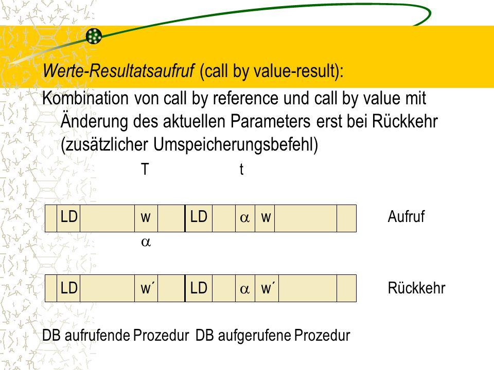 Werte-Resultatsaufruf (call by value-result): Kombination von call by reference und call by value mit Änderung des aktuellen Parameters erst bei Rückkehr (zusätzlicher Umspeicherungsbefehl) Tt LDwLD  wAufruf  LDw´LD  w´Rückkehr DB aufrufende Prozedur DB aufgerufene Prozedur