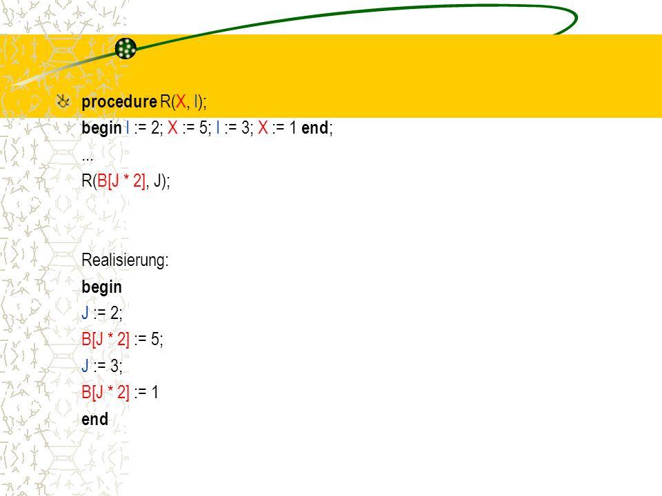 procedure R(X, I); begin I := 2; X := 5; I := 3; X := 1 end ;...