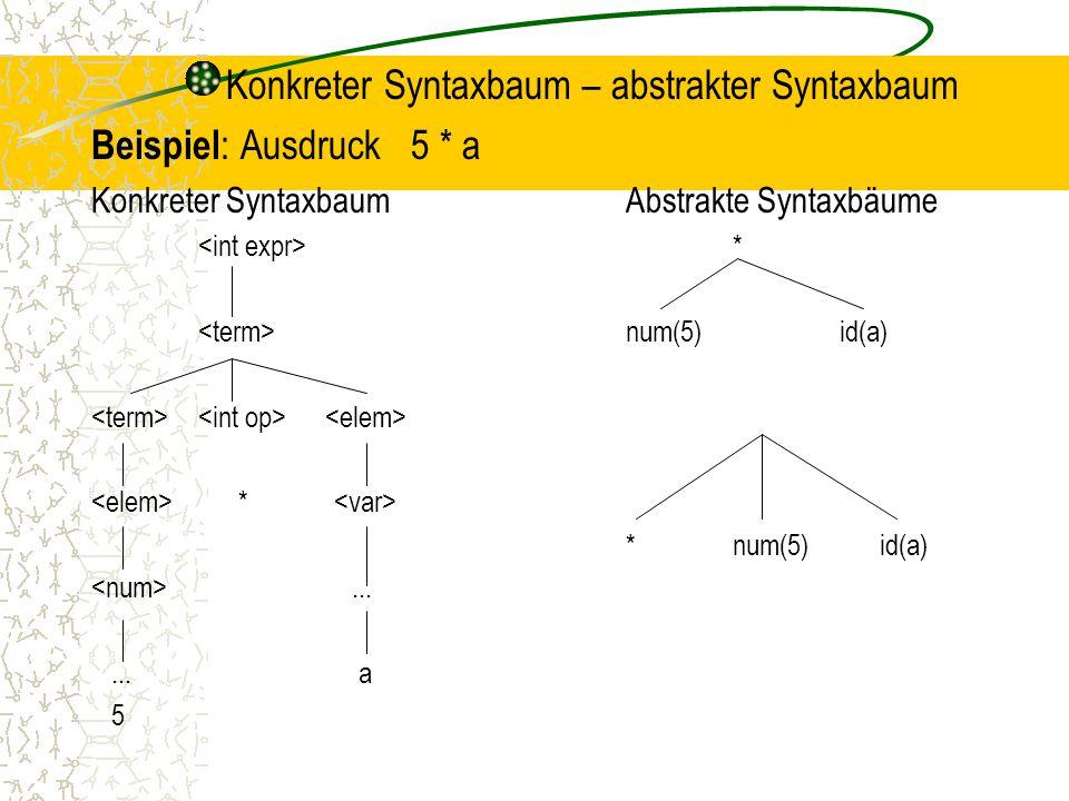 Konkreter Syntaxbaum – abstrakter Syntaxbaum Beispiel : Ausdruck 5 * a Konkreter SyntaxbaumAbstrakte Syntaxbäume * num(5)id(a) * *num(5) id(a)......