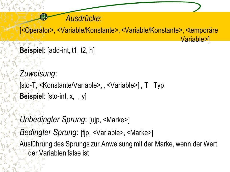 Ausdrücke : [,,, ] Beispiel : [add-int, t1, t2, h] Zuweisung : [sto-T,,, ], T Typ Beispiel : [sto-int, x,, y] Unbedingter Sprung : [ujp, ] Bedingter Sprung : [fjp,, ] Ausführung des Sprungs zur Anweisung mit der Marke, wenn der Wert der Variablen false ist