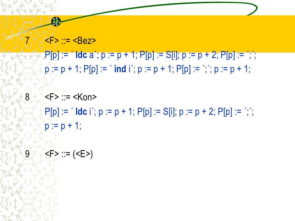 7 ::= P[p] := ´ ldc a´; p := p + 1; P[p] := S[i]; p := p + 2; P[p] := ´;´; p := p + 1; P[p] := ´ ind i´; p := p + 1; P[p] := ´;´; p := p + 1; 8 ::= P[p] := ´ ldc i´; p := p + 1; P[p] := S[i]; p := p + 2; P[p] := ´;´; p := p + 1; 9 ::= ( )