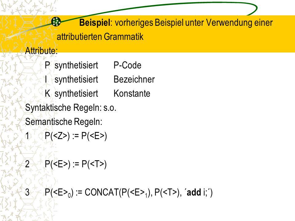 Beispiel : vorheriges Beispiel unter Verwendung einer attributierten Grammatik Attribute: PsynthetisiertP-Code IsynthetisiertBezeichner KsynthetisiertKonstante Syntaktische Regeln: s.o.