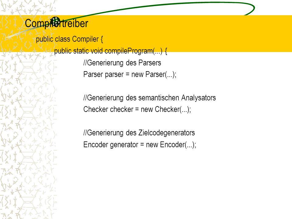 Compilertreiber public class Compiler { public static void compileProgram(...) { //Generierung des Parsers Parser parser = new Parser(...); //Generierung des semantischen Analysators Checker checker = new Checker(...); //Generierung des Zielcodegenerators Encoder generator = new Encoder(...);