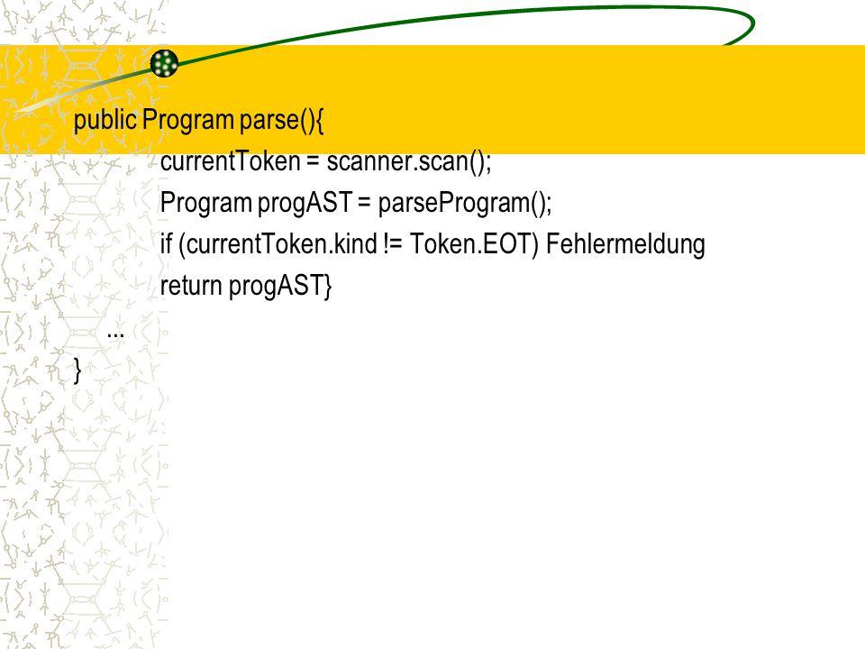 public Program parse(){ currentToken = scanner.scan(); Program progAST = parseProgram(); if (currentToken.kind != Token.EOT) Fehlermeldung return progAST}...