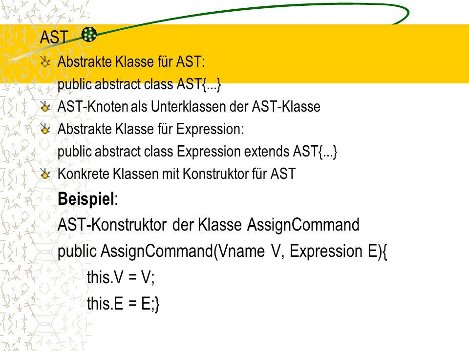 AST Abstrakte Klasse für AST: public abstract class AST{...} AST-Knoten als Unterklassen der AST-Klasse Abstrakte Klasse für Expression: public abstract class Expression extends AST{...} Konkrete Klassen mit Konstruktor für AST Beispiel : AST-Konstruktor der Klasse AssignCommand public AssignCommand(Vname V, Expression E){ this.V = V; this.E = E;}