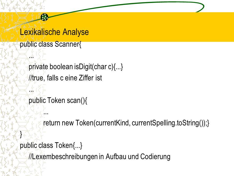 Lexikalische Analyse public class Scanner{...