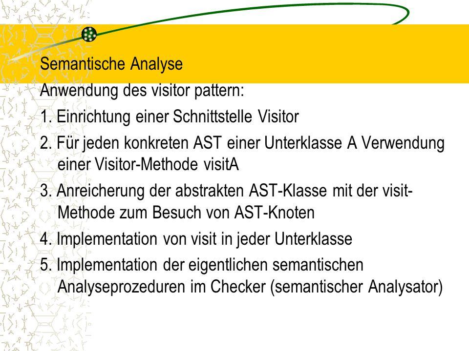 Semantische Analyse Anwendung des visitor pattern: 1.