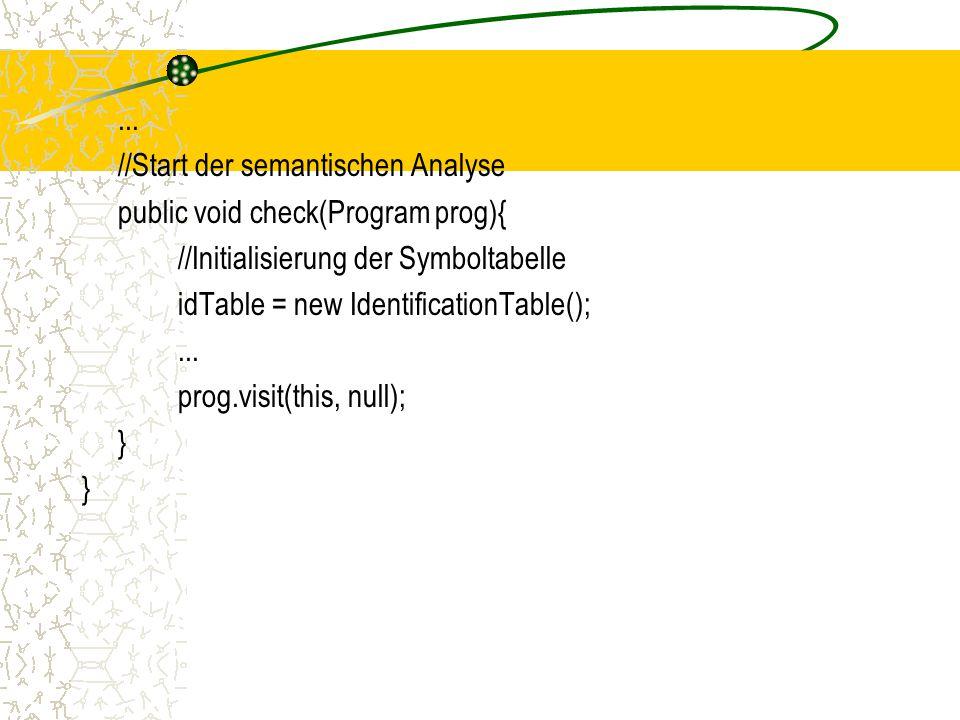 ... //Start der semantischen Analyse public void check(Program prog){ //Initialisierung der Symboltabelle idTable = new IdentificationTable();... prog