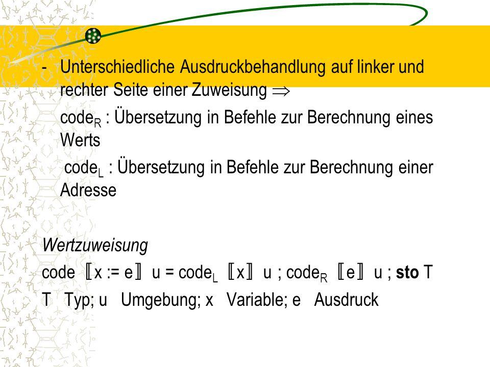 -Unterschiedliche Ausdruckbehandlung auf linker und rechter Seite einer Zuweisung  code R : Übersetzung in Befehle zur Berechnung eines Werts code L : Übersetzung in Befehle zur Berechnung einer Adresse Wertzuweisung code 〚 x := e 〛 u = code L 〚 x 〛 u ; code R 〚 e 〛 u ; sto T T Typ; u Umgebung; x Variable; e Ausdruck