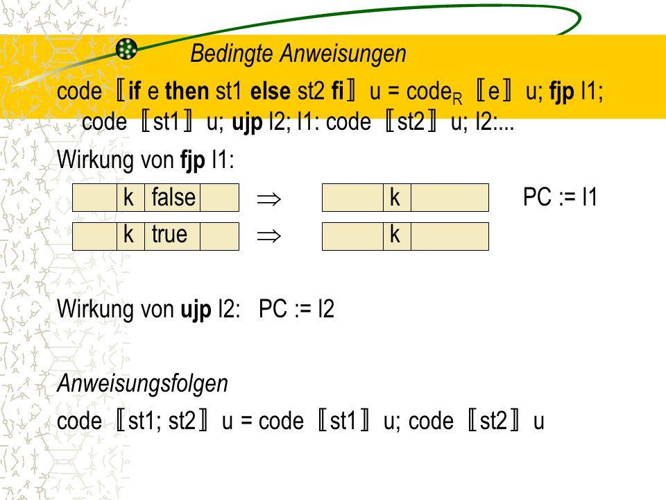 Bedingte Anweisungen code 〚 if e then st1 else st2 fi 〛 u = code R 〚 e 〛 u; fjp l1; code 〚 st1 〛 u; ujp l2; l1: code 〚 st2 〛 u; l2:...