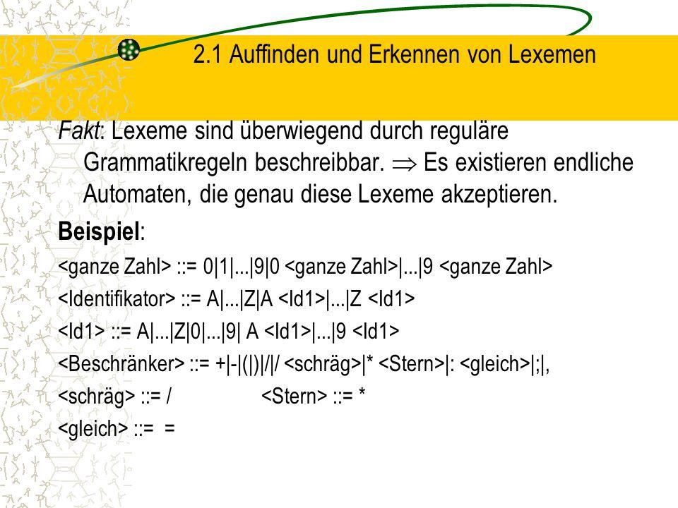2.1 Auffinden und Erkennen von Lexemen Fakt : Lexeme sind überwiegend durch reguläre Grammatikregeln beschreibbar.
