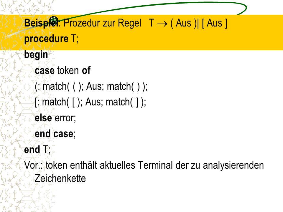 Beispiel : Prozedur zur Regel T  ( Aus )| [ Aus ] procedure T; begin case token of (: match( ( ); Aus; match( ) ); [: match( [ ); Aus; match( ] ); else error; end case ; end T; Vor.: token enthält aktuelles Terminal der zu analysierenden Zeichenkette