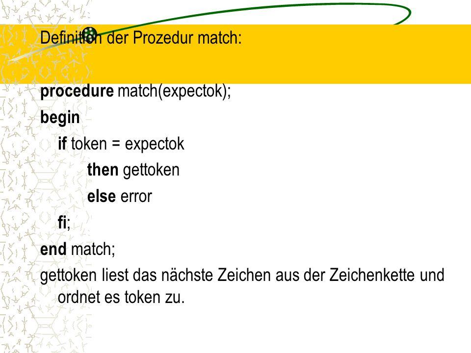 Definition der Prozedur match: procedure match(expectok); begin if token = expectok then gettoken else error fi ; end match; gettoken liest das nächste Zeichen aus der Zeichenkette und ordnet es token zu.