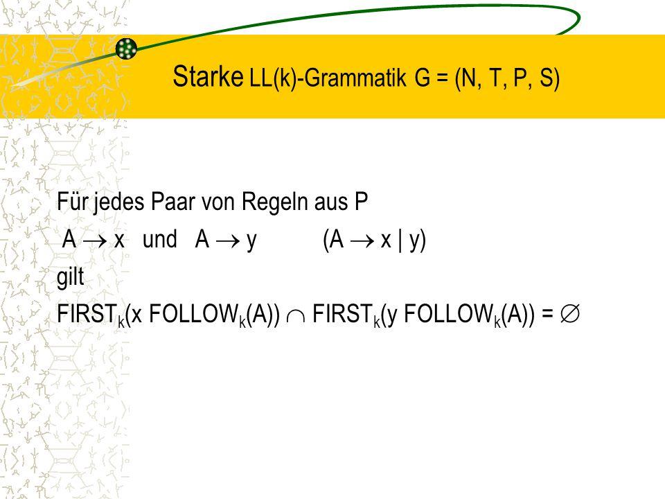 Starke LL(k)-Grammatik G = (N, T, P, S) Für jedes Paar von Regeln aus P A  x und A  y(A  x | y) gilt FIRST k (x FOLLOW k (A))  FIRST k (y FOLLOW k (A)) = 