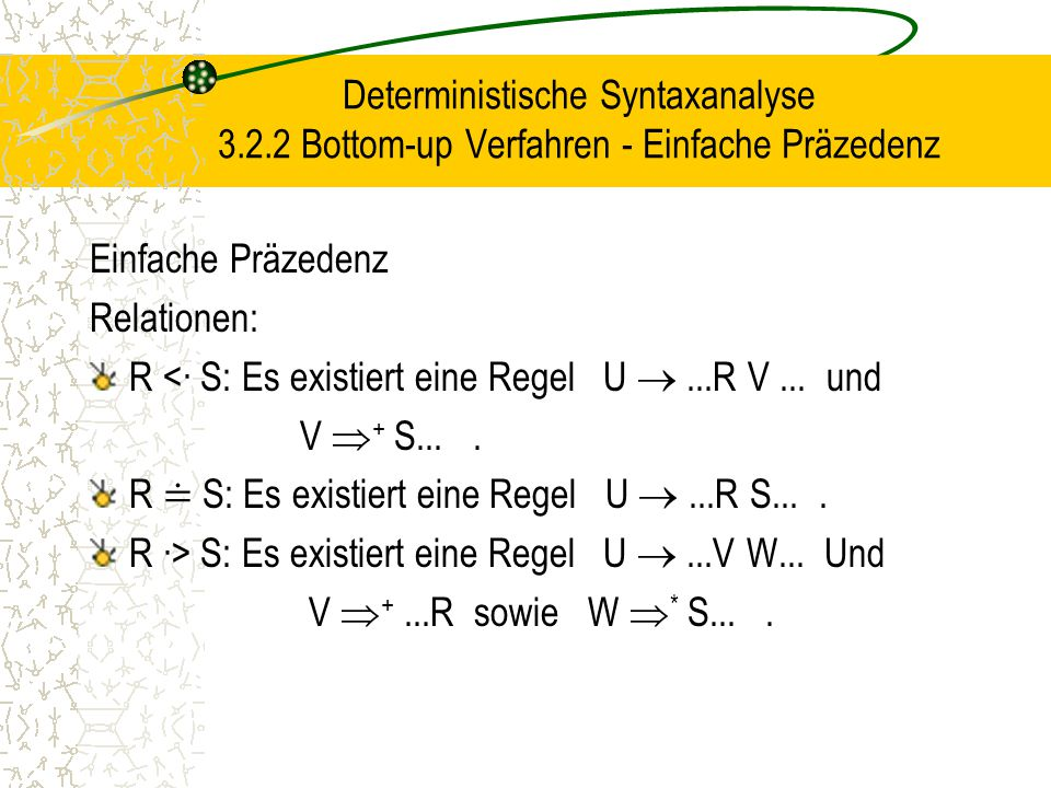 Deterministische Syntaxanalyse 3.2.2 Bottom-up Verfahren - Einfache Präzedenz Einfache Präzedenz Relationen: R <∙ S: Es existiert eine Regel U ...R V...