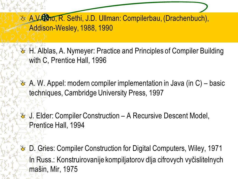 Semantische Regeln 1.Sn :=.Sn.error :=.error.Sv := INIT(.IT) 2 0.Sn := 1.Sn 0.error := 1.error  IN( 0.Sv,.IT) 1.Sv := ENTRY( 0.Sv,.IT), wenn ¬ IN( 0.Sv,.IT) 3.Sn :=.Sv.error := false 4.IT := IDDECL(.I,.T) 5.T := ´bool´ 6.T := ínt´