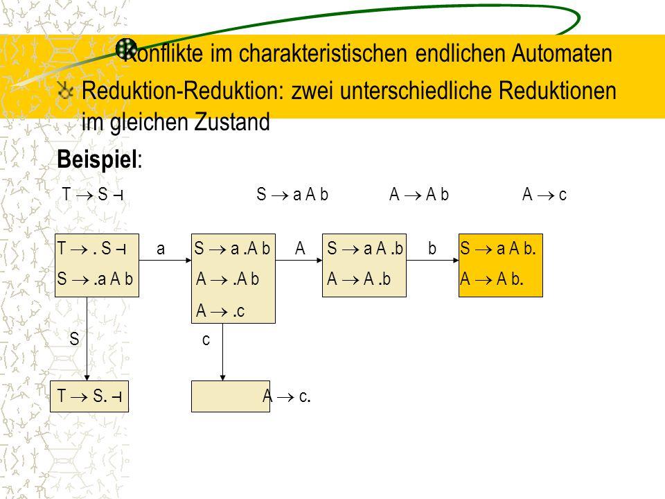 Konflikte im charakteristischen endlichen Automaten Reduktion-Reduktion: zwei unterschiedliche Reduktionen im gleichen Zustand Beispiel : T  S ⊣ S  a A bA  A bA  c T .