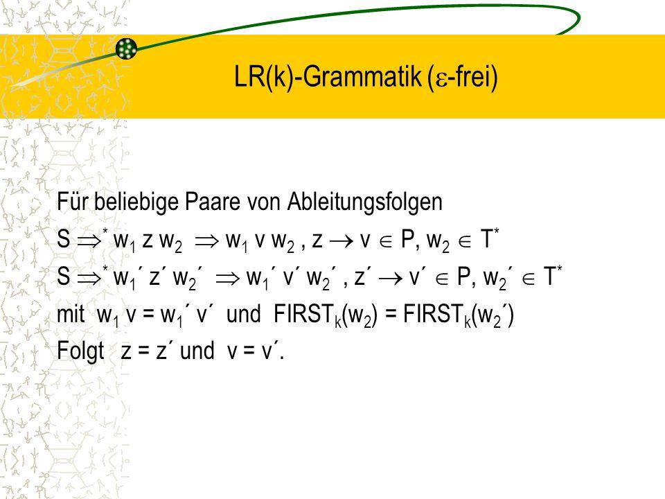 LR(k)-Grammatik (  -frei) Für beliebige Paare von Ableitungsfolgen S  * w 1 z w 2  w 1 v w 2, z  v  P, w 2  T * S  * w 1 ´ z´ w 2 ´  w 1 ´ v´ w 2 ´, z´  v´  P, w 2 ´  T * mit w 1 v = w 1 ´ v´ und FIRST k (w 2 ) = FIRST k (w 2 ´) Folgt z = z´ und v = v´.