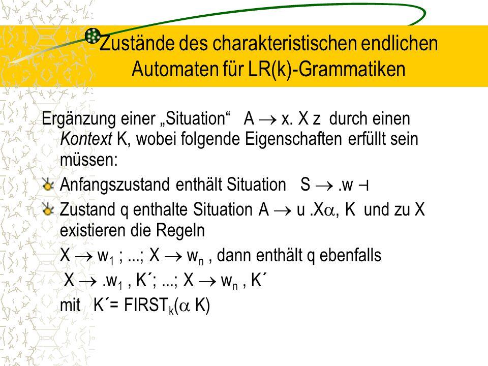 """Zustände des charakteristischen endlichen Automaten für LR(k)-Grammatiken Ergänzung einer """"Situation A  x."""