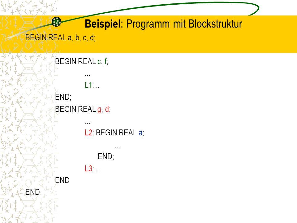 Beispiel : Programm mit Blockstruktur BEGIN REAL a, b, c, d;...