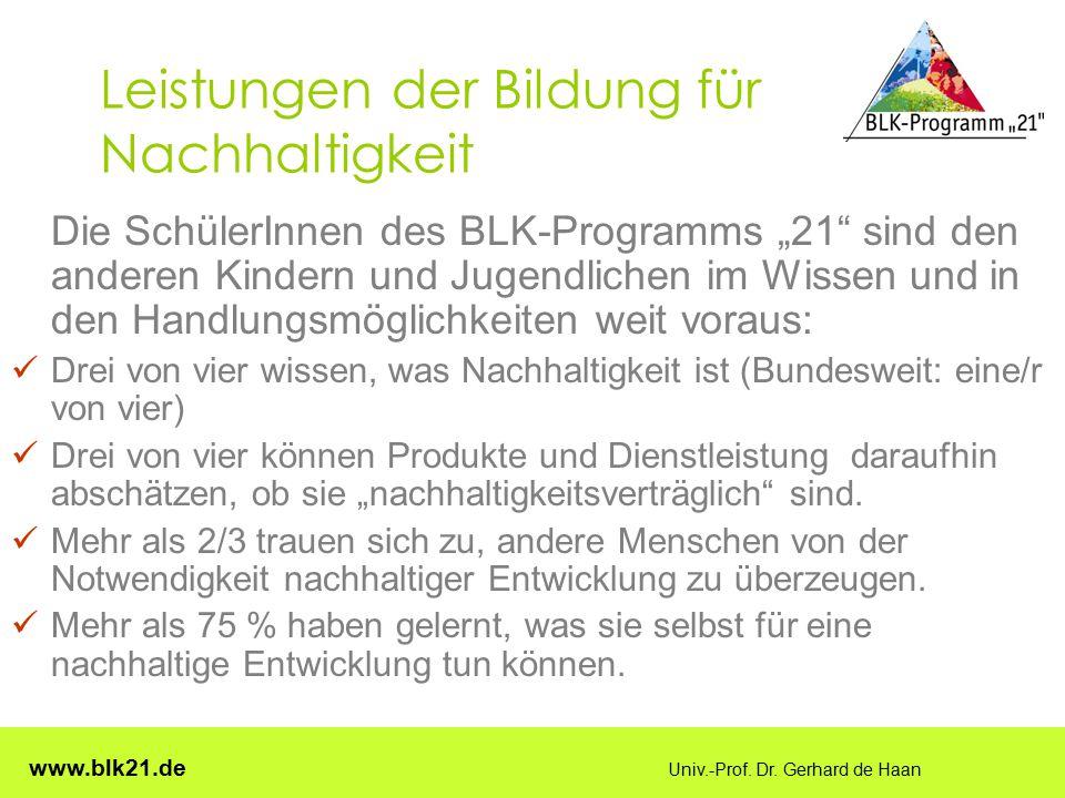 """www.blk21.de Univ.-Prof. Dr. Gerhard de Haan Leistungen der Bildung für Nachhaltigkeit Die SchülerInnen des BLK-Programms """"21"""" sind den anderen Kinder"""