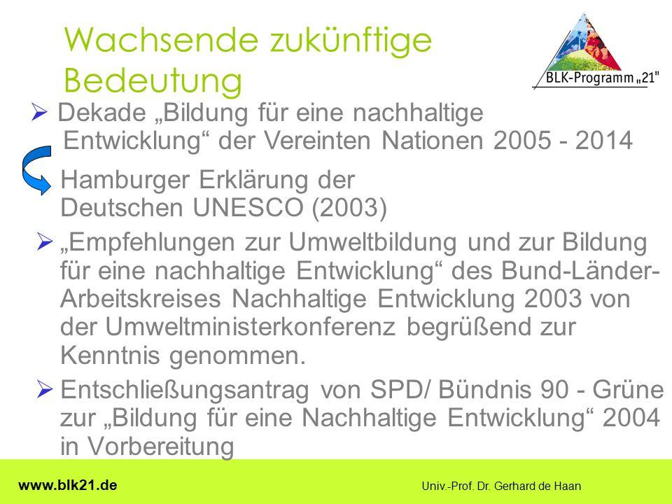 """www.blk21.de Univ.-Prof. Dr. Gerhard de Haan Wachsende zukünftige Bedeutung Hamburger Erklärung der Deutschen UNESCO (2003)  """"Empfehlungen zur Umwelt"""