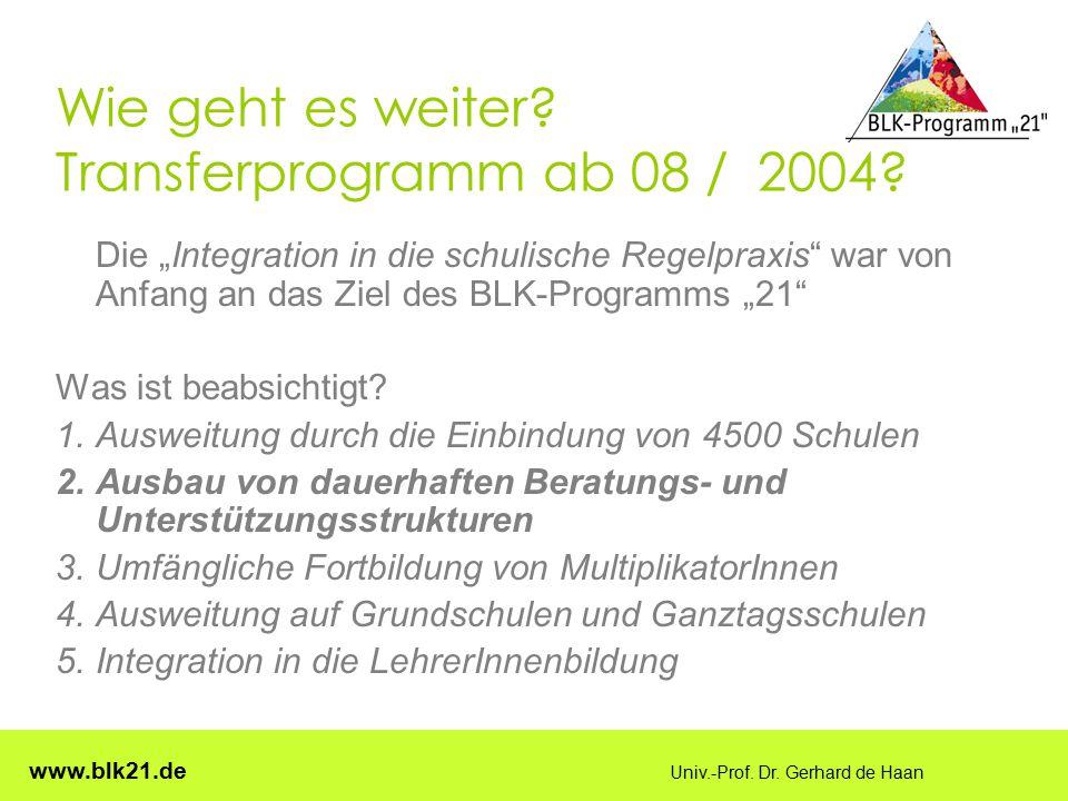 """www.blk21.de Univ.-Prof. Dr. Gerhard de Haan Wie geht es weiter? Transferprogramm ab 08 / 2004? Die """"Integration in die schulische Regelpraxis"""" war vo"""