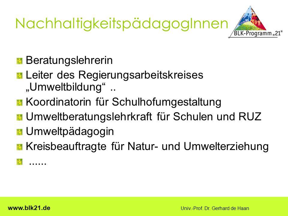 """www.blk21.de Univ.-Prof. Dr. Gerhard de Haan NachhaltigkeitspädagogInnen Beratungslehrerin Leiter des Regierungsarbeitskreises """"Umweltbildung"""".. Koord"""