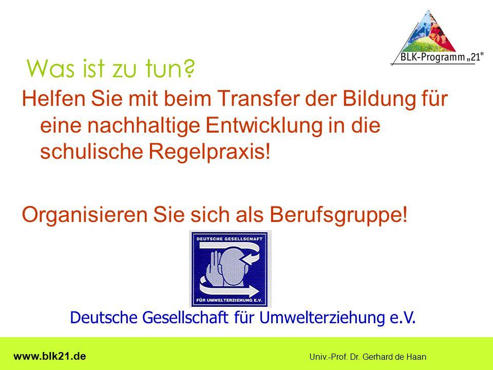 www.blk21.de Univ.-Prof. Dr. Gerhard de Haan Was ist zu tun? Helfen Sie mit beim Transfer der Bildung für eine nachhaltige Entwicklung in die schulisc