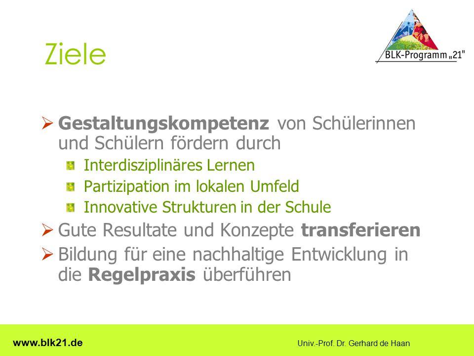 www.blk21.de Univ.-Prof. Dr. Gerhard de Haan Ziele  Gestaltungskompetenz von Schülerinnen und Schülern fördern durch Interdisziplinäres Lernen Partiz