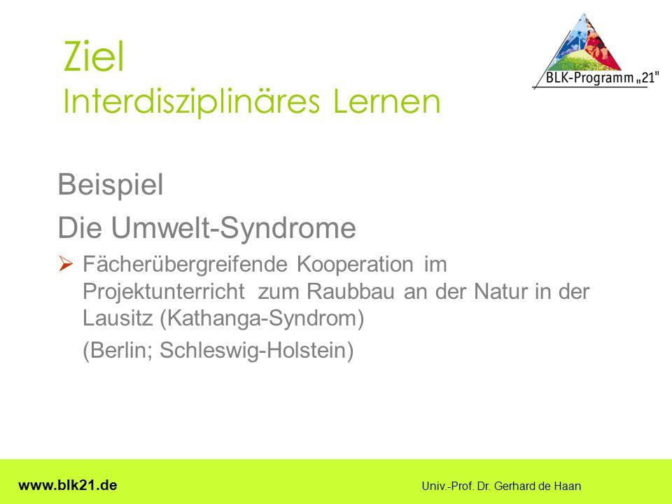www.blk21.de Univ.-Prof. Dr. Gerhard de Haan Ziel Interdisziplinäres Lernen Beispiel Die Umwelt-Syndrome  Fächerübergreifende Kooperation im Projektu