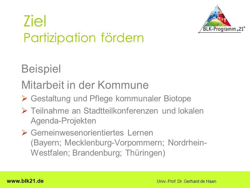 www.blk21.de Univ.-Prof. Dr. Gerhard de Haan Ziel Partizipation fördern Beispiel Mitarbeit in der Kommune  Gestaltung und Pflege kommunaler Biotope 