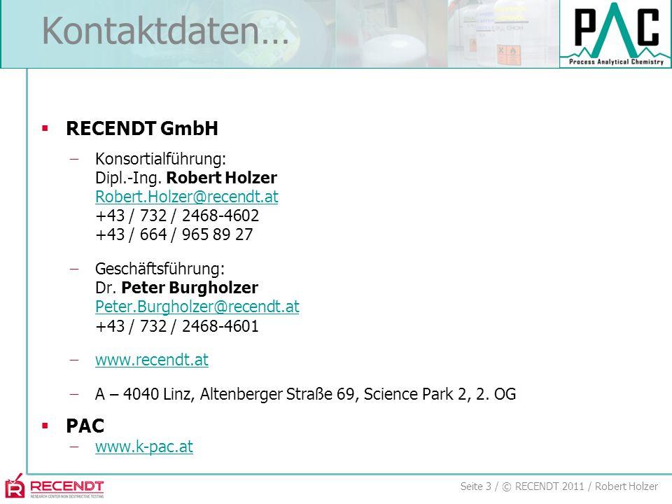 Seite 3 / © RECENDT 2011 / Robert Holzer Kontaktdaten…  RECENDT GmbH ̶Konsortialführung: Dipl.-Ing.
