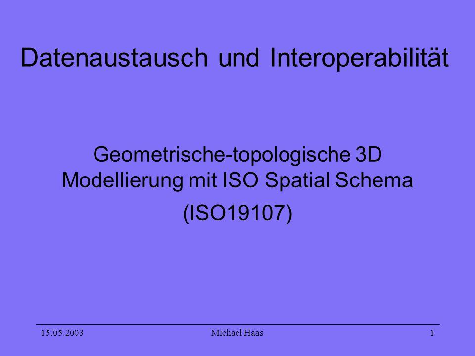 15.05.2003Michael Haas 12 Solid (3D) wird begrenzt von: - GM_Circle - GM_Surface - GM_Sphere - Realisierung -Modellierung der Geometrie -Modellierung der Topologie -ALKIS - Primitive -Complex -Aggregationen