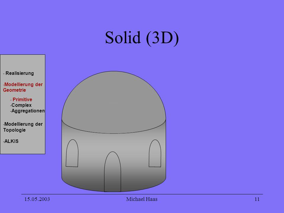15.05.2003Michael Haas 11 Solid (3D) - Realisierung -Modellierung der Geometrie -Modellierung der Topologie -ALKIS - Primitive -Complex -Aggregationen