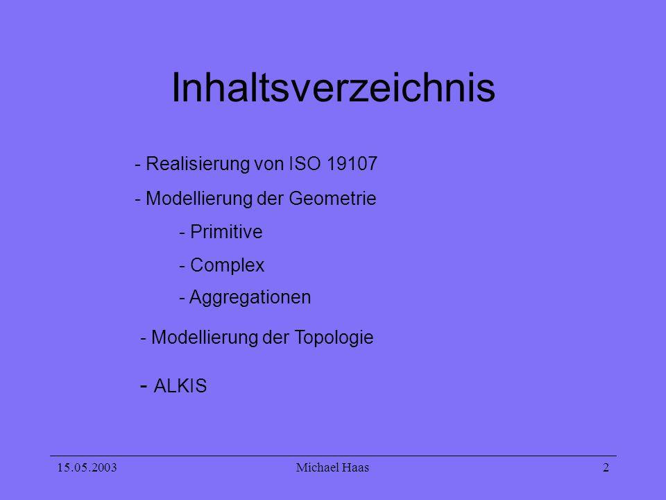 15.05.2003Michael Haas 2 Inhaltsverzeichnis - Realisierung von ISO 19107 - Modellierung der Geometrie - Primitive - Complex - Aggregationen - ALKIS -