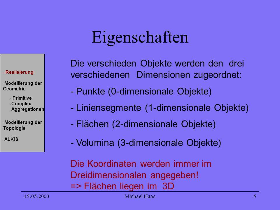 15.05.2003Michael Haas 5 Eigenschaften Die verschieden Objekte werden den drei verschiedenen Dimensionen zugeordnet: - Liniensegmente (1-dimensionale