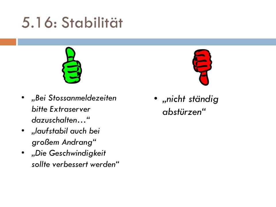 """5.16: Stabilität """"Bei Stossanmeldezeiten bitte Extraserver dazuschalten… """"laufstabil auch bei großem Andrang """"Die Geschwindigkeit sollte verbessert werden """"nicht ständig abstürzen"""