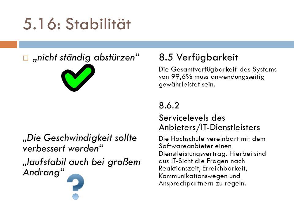 """5.16: Stabilität  """"nicht ständig abstürzen"""" """"Die Geschwindigkeit sollte verbessert werden"""" """"laufstabil auch bei großem Andrang"""" 8.5 Verfügbarkeit Die"""